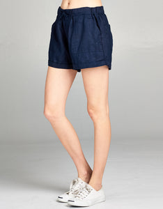 navy linen drawstring short