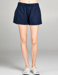 Linen Drawstring Short | Navy - 4our Dreamers