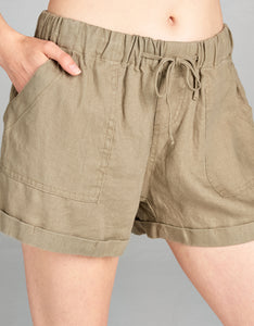 Linen Drawstring Short | Olive - 4our Dreamers