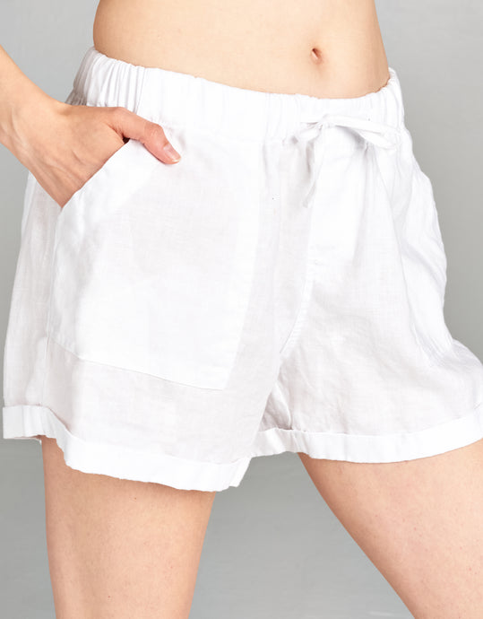 white linen drawstring short