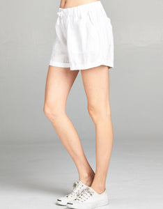 Linen Drawstring Short | White - 4our Dreamers