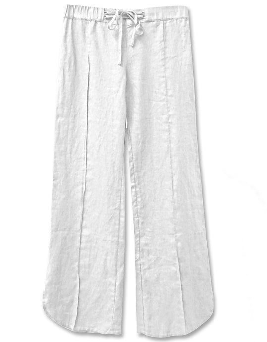 Linen Drawstring Tie Pant | White - 4our Dreamers