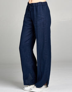 Linen Drawstring Tie Pant | Navy - 4our Dreamers
