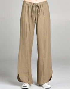 Linen Drawstring Tie Pant | Olive - 4our Dreamers