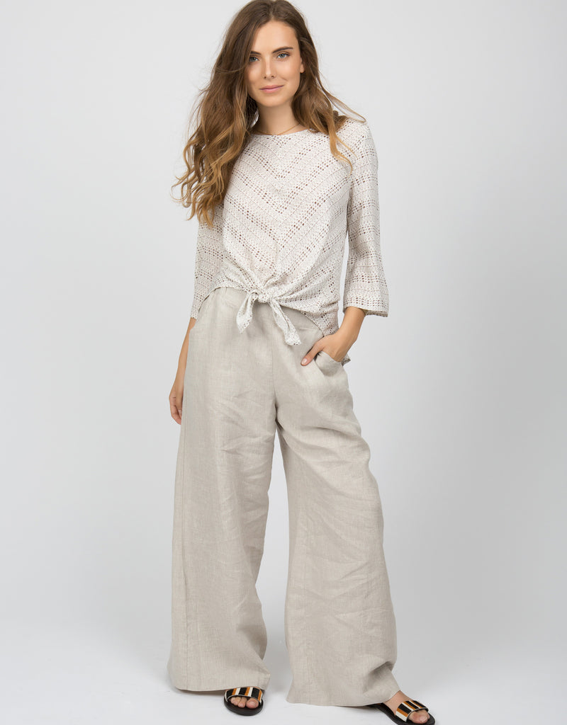 Linen Wide Leg Pant | Navy - 4our Dreamers