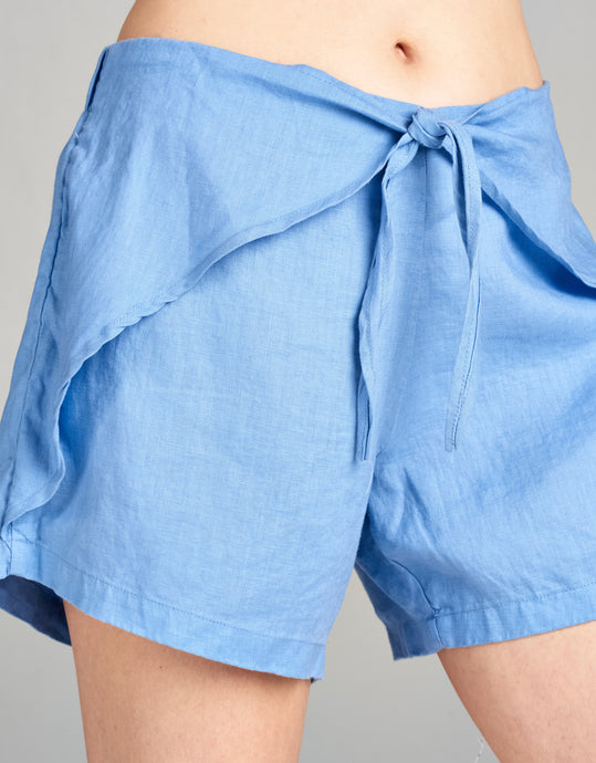 Linen Tie Front Short | Periwinkle - 4our Dreamers