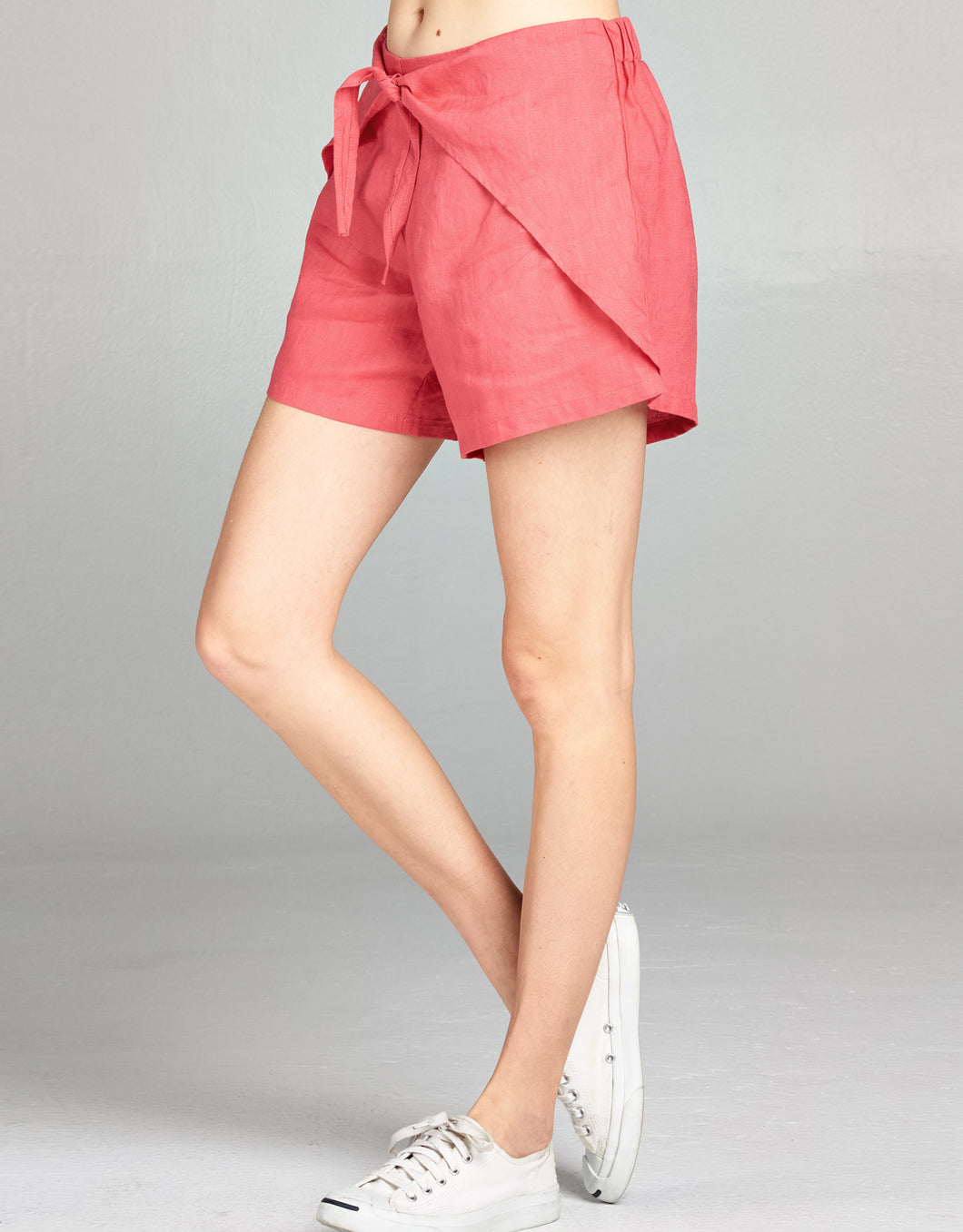 Linen Tie Front Short | Pink - 4our Dreamers