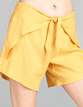 Linen Tie Front Short | Yellow - 4our Dreamers