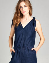 Linen Crop Jumpsuit | Navy - 4our Dreamers