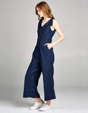Linen Crop Jumpsuit | Navy