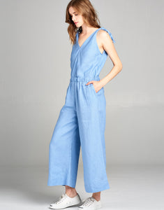 Linen Crop Jumpsuit | Periwinkle - 4our Dreamers