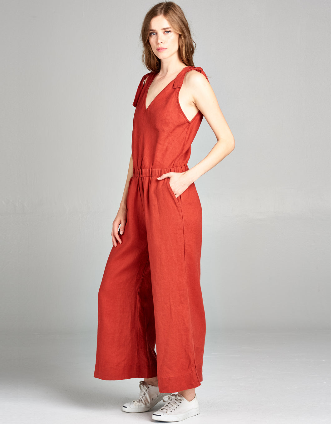 Linen Crop Jumpsuit | Terracotta - 4our Dreamers