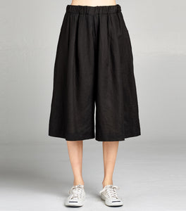 Linen Pleated Culotte Crop | Black - 4our Dreamers