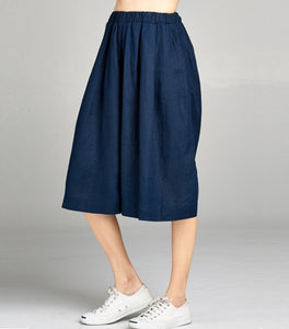 Linen Pleated Culotte Crop | Navy - 4our Dreamers