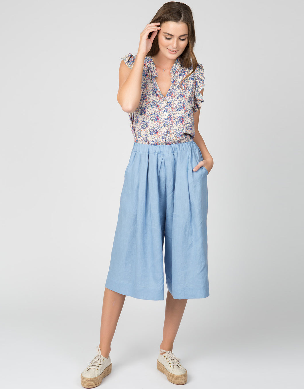 Linen Pleated Culotte Crop | Periwinkle - 4our Dreamers