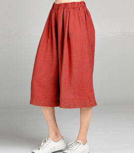 Linen Pleated Culotte Crop | Terracotta