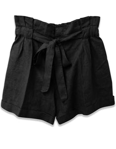 Linen Paperbag Waist Short | Black - 4our Dreamers