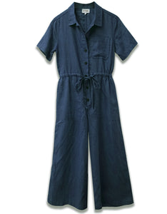 Linen Short Sleeve Crop Jumpsuit | Navy
