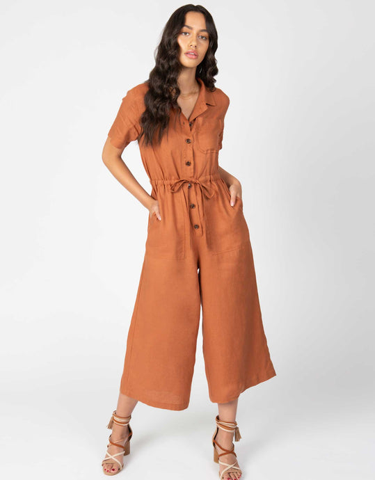 Linen Short Sleeve Crop Jumpsuit | Clay - 4our Dreamers