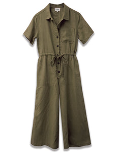 linen short sleeve crop jumpsuit in olive