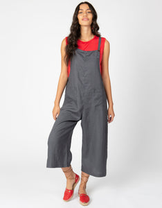Linen Crop Overalls | Dark Slate - 4our Dreamers