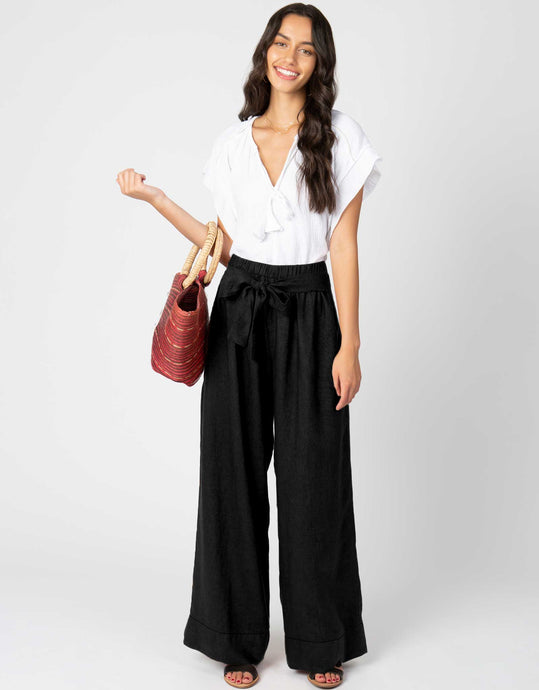 Linen Waist Tie Pant | Black - 4our Dreamers