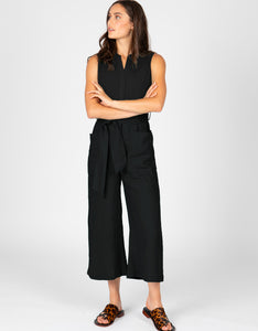 Sleeveless Linen Jumpsuit | Black