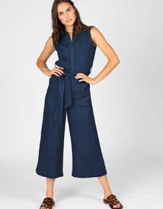 Sleeveless Linen Jumpsuit | Navy