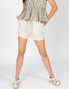 Linen Drawstring Long Short | Natural