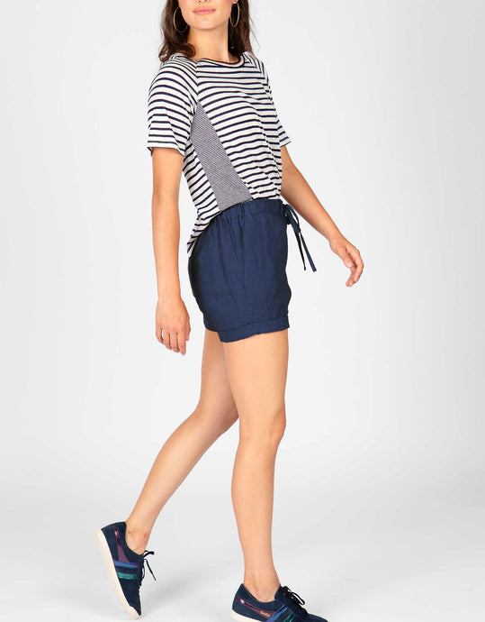 Linen Drawstring Long Short | Navy