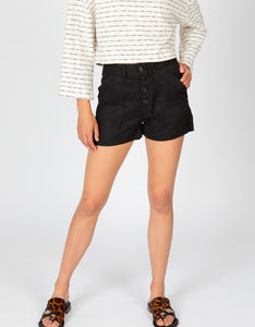 High Waisted Button Front Linen Short | Black