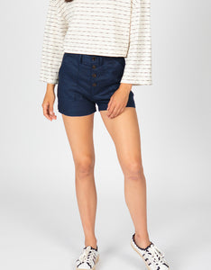 High Waisted Button Front Linen Short | Navy