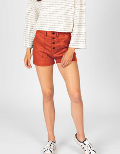 High Waisted Button Front Linen Short | Sienna