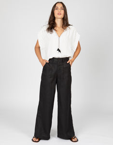 High Waisted Linen Pant | Black