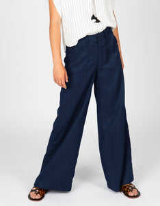 High Waisted Linen Pant | Navy