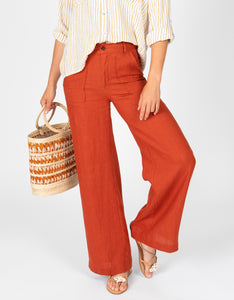 High Waisted Linen Pant | Sienna