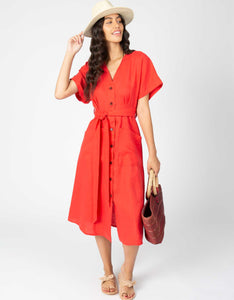 linen midi waist tie button down dress