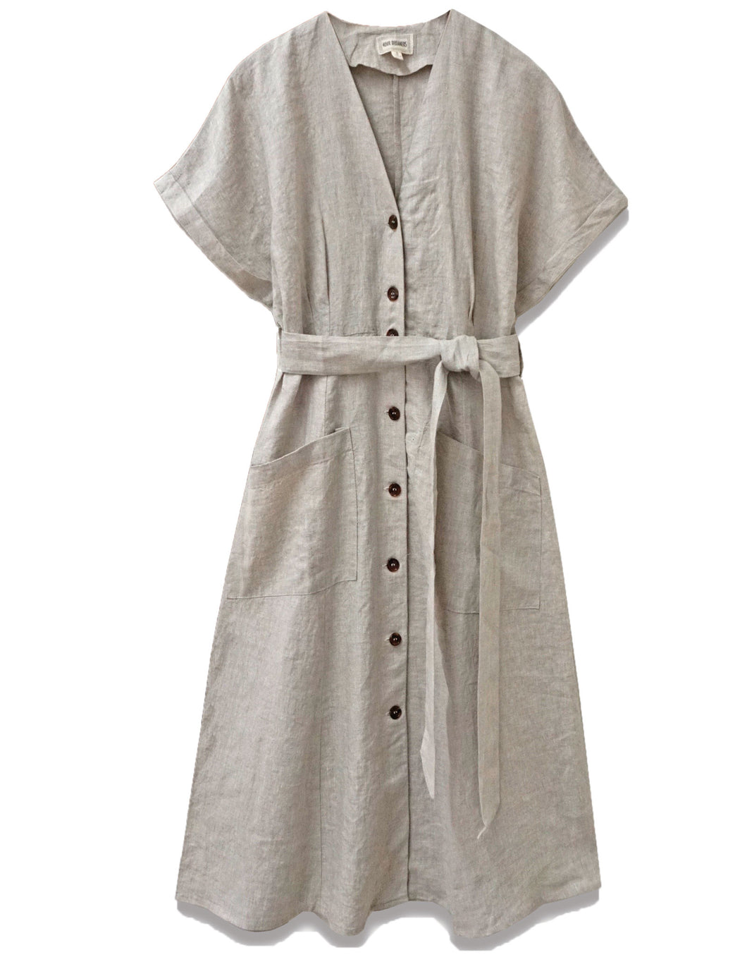 Linen Button Down Midi Dress | Natural - 4our Dreamers