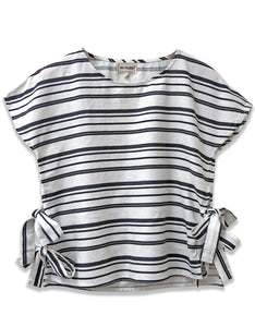 Linen Stripe Short Sleeve Top | Black + White - 4our Dreamers