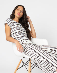 black and white striped linen top