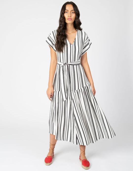 Linen Stripe Midi Dress | Black + White - 4our Dreamers