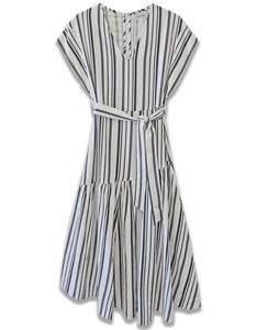 black and white linen stripe midi dress