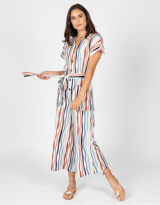 Wavy Stripe Short Sleeve Jumpsuit