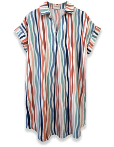 Wavy Stripe Short Sleeve Popover Dress