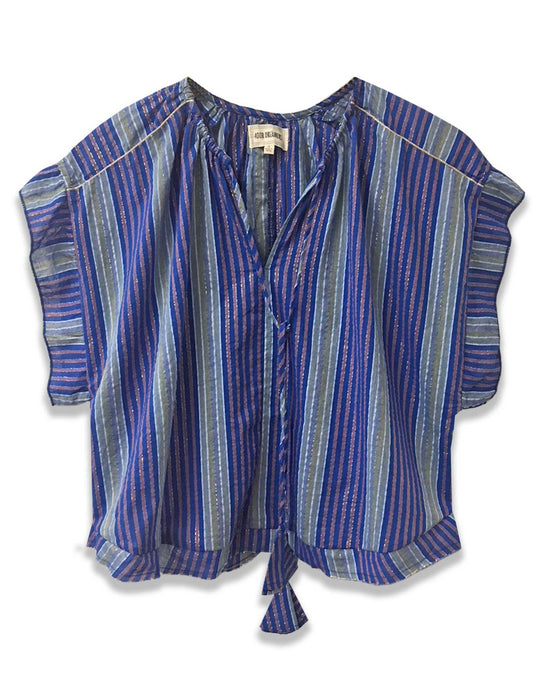 Lurex stripe blue short sleeve top