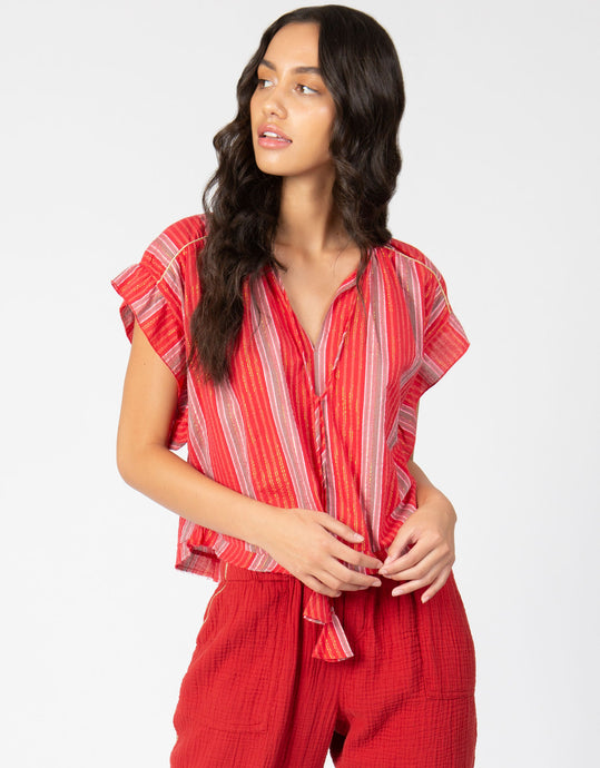 Lurex Stripe Peasant Top | Raspberry - 4our Dreamers