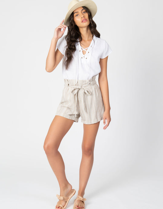 Paperbag Waist Striped Short | Natural - 4our Dreamers