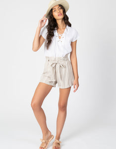 Linen Paperbag Waist Short | Clay
