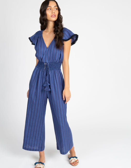 Linen Stripe Jumpsuit | Cobalt - 4our Dreamers