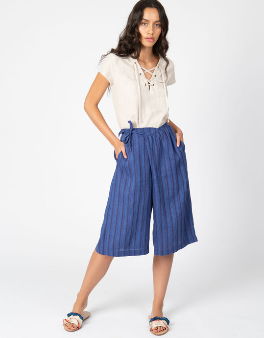 linen stripe crop pant